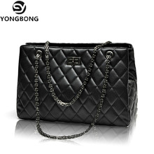 YONGBONG Fashion Woman Big Embroidery Bags Ladies Luxury Handbag Women Plaid Chain Shoulder Bag Large Quilted Bolsas Femininas