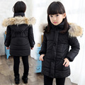 6-12T children's clothing girls winter jacket coat large children's cotton-padded jacket thicker Korean of the long paragraph