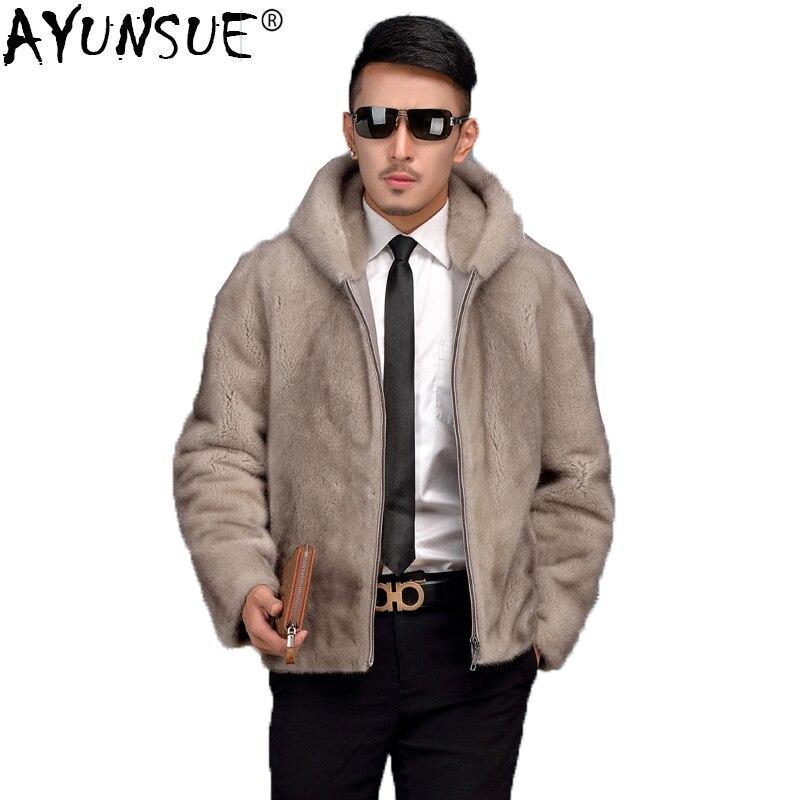 AYUNSUE Real de piel de abrigo de los hombres de visón de piel de invierno de 2019 chaqueta de visón Abrigo con capucha corta nutria Veste Hiver HommeZ28-3 KJ1098