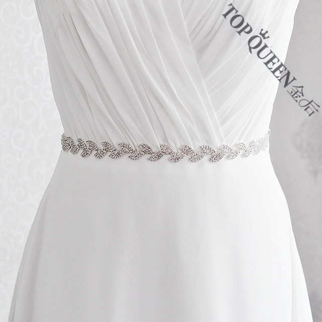 TOPQUEEN S198-S Handmade Women's Rhinestones Crystals Wedding Evening Party Gown Dresses Accessories Bridal Bride Belts Sashes
