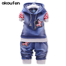 цены на okoufen 2018 new baby boy clothes spring and autumn children denim body suit fashion jean kids clothing sets retail  в интернет-магазинах