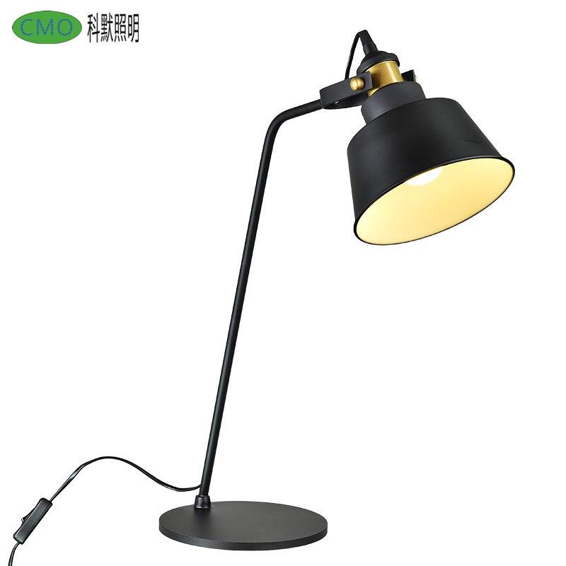 American Style Led Beside Table Lamp Retro Designer Light Simple Vintage Living Room Bedroom Study Desk lamp With E27 socket