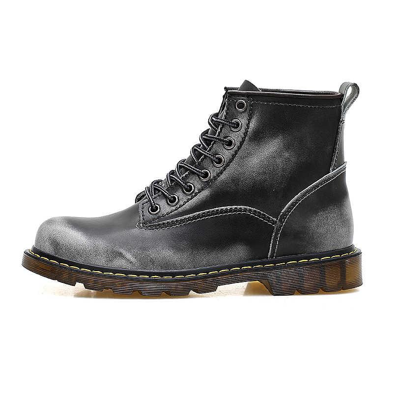 POLALI Hoge Kwaliteit Echt leer Herfst Mannen Laarzen Winter Waterdichte Enkellaars Mannelijke Laarzen Outdoor Werkende Laarzen Mannen Schoenen