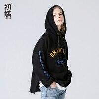 Toyouth Women Sweatshirts Loose Split Hoodies With Letters Printing 2018 Aumtum Winter Fleece Hooded Pullovers