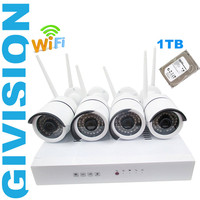 Cctv Network Wireless Security Ip Camera NVR System 720P HD 4ch WIFI P2P Outdoor IR Plug