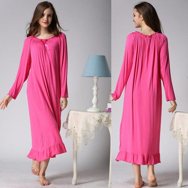 2017 spring long sleeve ultra plus size long women nightwear homewear female cotton retro royal loose sleepwear full dress home