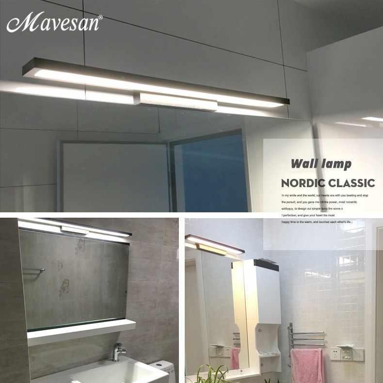 Горячие ванная комната светодиодные зеркальные настенные светильники для гостиной белый черный железный основание Настенные светильники 39 см 52 см 80 см дальнего света