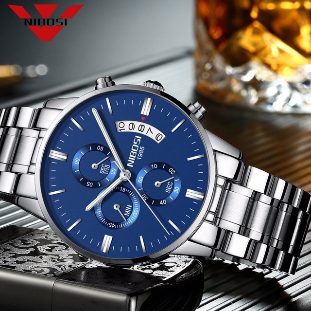 NIBOSI reloj azul para hombre, cronógrafo de lujo, militar, analógico, de cuarzo, Masculino