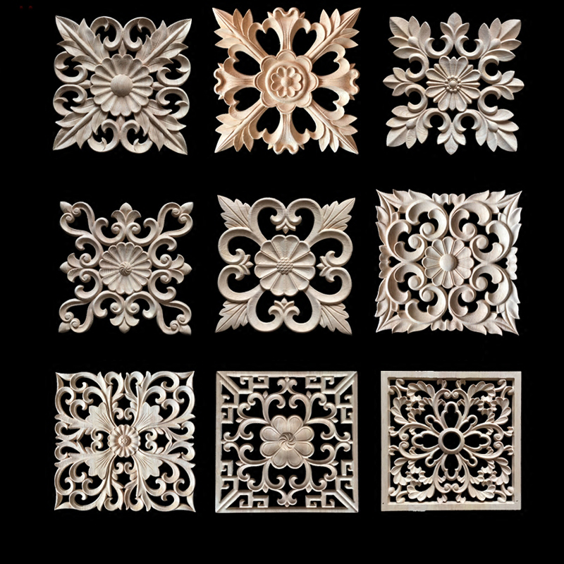 Decorative Wood Appliques Wood Carving Frame For Furniture Cabinet Door Nautical Home Decor Wooden Figurine Flower Pattern Carve