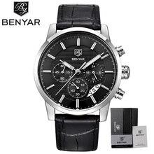 Famosa marca reloj benyar piloto militar hombres relojes deportivos calendario reloj de cuarzo resistente al agua 30 m reloj relogio masculino