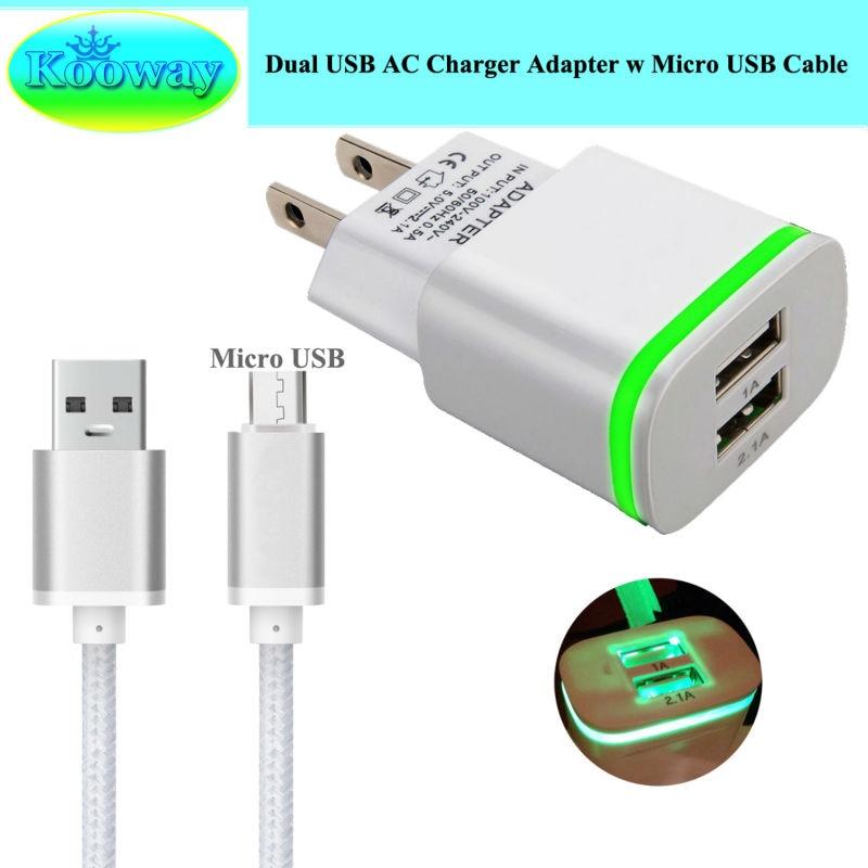 US/EU Plug Dual USB Wall Charger Adapter, Micro USB / Type