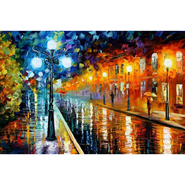 Modern Wallpaper Rainy Street Diy Diamond Painting Wall Picture Poster Embroidery Gift 90X60CM LLLD199