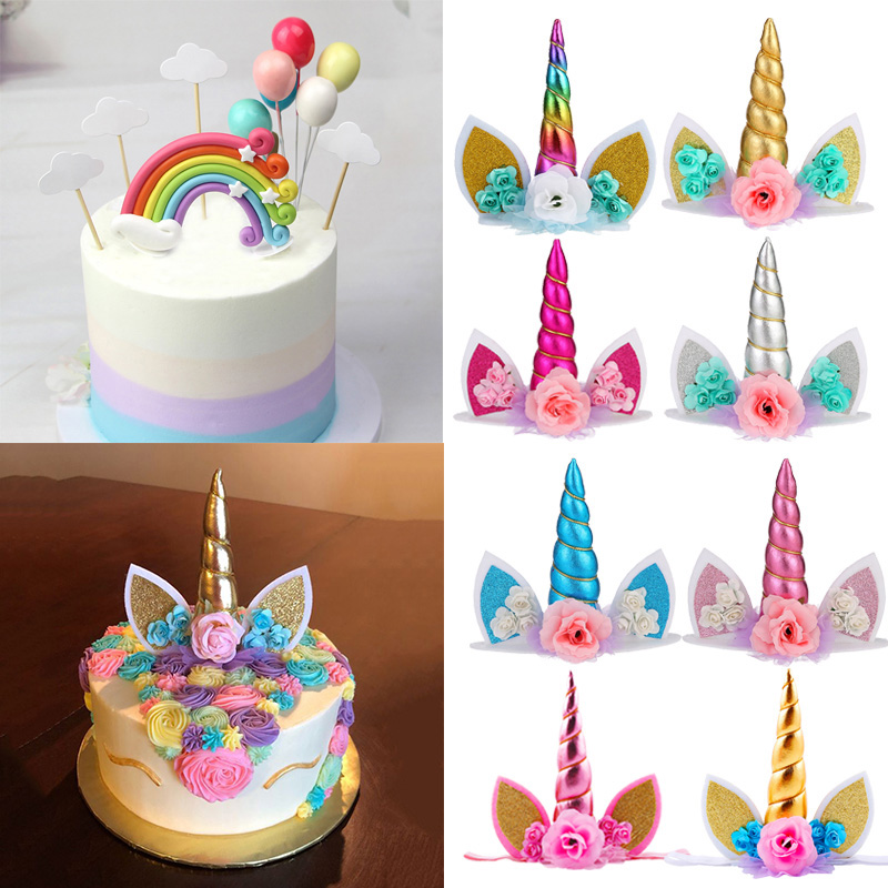 WEIGAO <font><b>Unicorn</b></font> Birthday <font><b>Decorations</b></font> Rainbow Unicornio Cake Topper Case Cake Decorating Kids Event Party Cake Toppers Supplies image