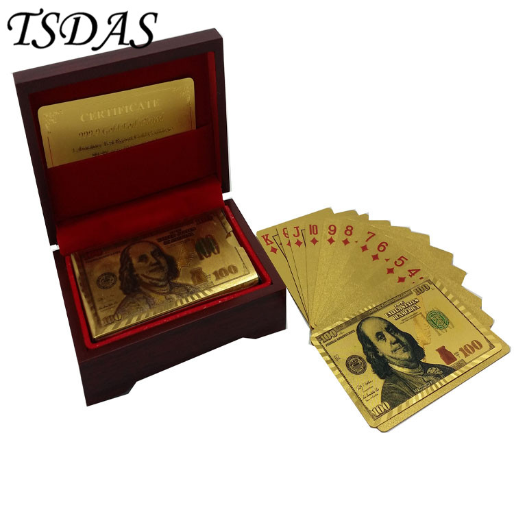 24k 100 Dollar Bill Printed Plastic Solid Color Playing