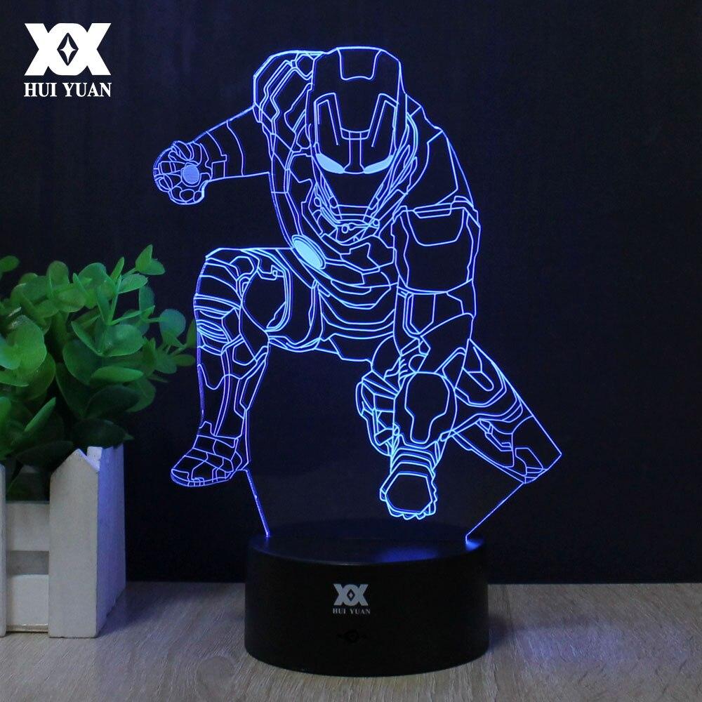 Iron Man 3D Lamp Spiderman Ninja turtles Deadpool Lamp LED ...