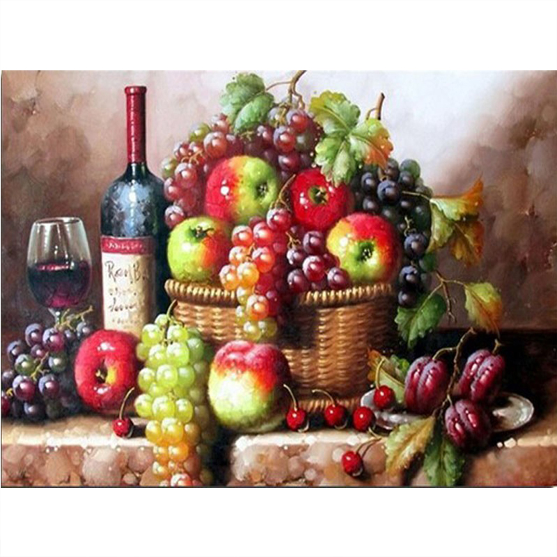 Diy Diamond painting Fruit basket of wine Diamond Embroidery Full Square Diamond mosaic icon The sitting room adornment picture