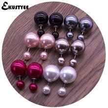 Brincos dupla face 6 pares/lote, aço inoxidável, 16mm/8mm, brincos de pérola dupla, em joias mulheres