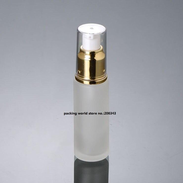 30 мл матовое стекло бутылка с серебряным/золотым пресс-насос для лосьона/эмульсии/сыворотки/тонера/косметика для ухода за кожей упаковка - Цвет: shiny gold lotion