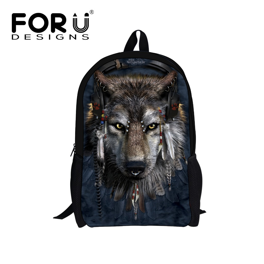 FORUDESIGNS Primary School Bags Cool Wolf Shark Print Backpack for Students Schoolbag Te ...