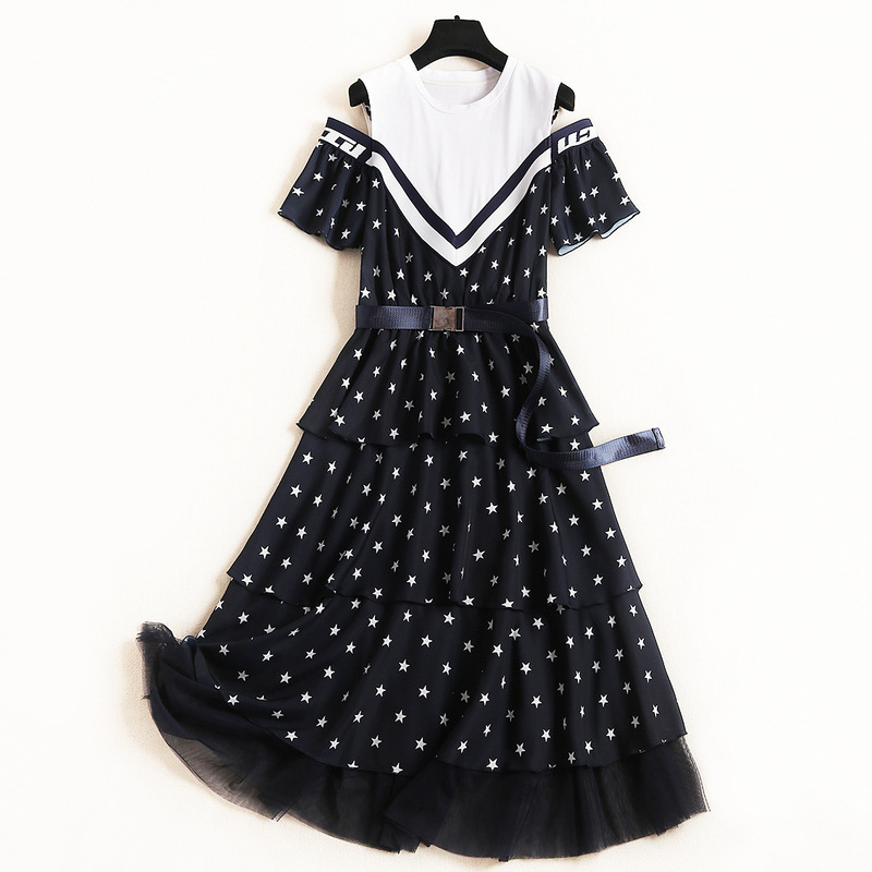 Women girls cut out cold shoulder sexy dress short sleeve ruffles patchwork mesh belt dresses stars print navy 2019 summer
