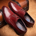Los hombres Zapatos de Cuero Italianos Clásicos Formales atan para arriba Zapatos de Cuero Genuino Para Los Hombres Negro Marrón Zapatos de Los Hombres de La Boda Real cuero