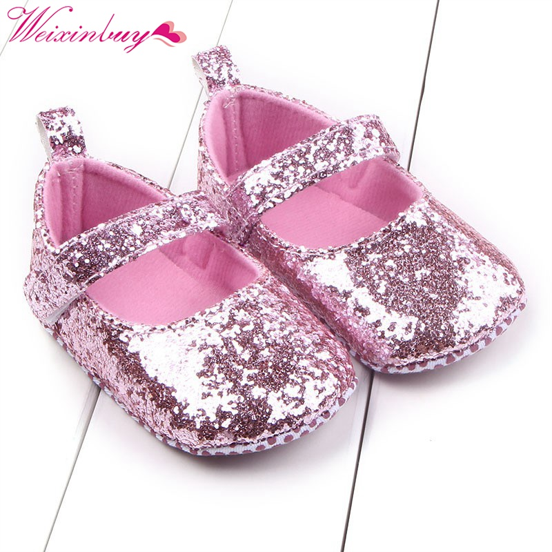 Купить с кэшбэком Newborn Baby Shoes Baby Girls Summer Princess Shoes Sequins Infant Soft Sole First Walkers PU Leather Soft Bottom Toddler Shoes