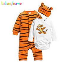 3Piece/0-24Months/Spring Autumn Newborn Baby Girls Boys Clothes Cartoon Cute Jumpsuit+Bodysuits+Hats Infant Clothing Sets BC1133