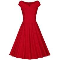 Two Per Thousand 3 Colour Summer Sleeveless V Neck Pure Color Vintage Dress Women Simple Retro