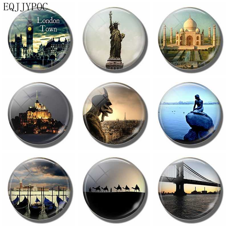 3 CM Glass Fridge Magnet Souvenir Travel Decorative Magnetic Stickers Home Decor - London New York India Valencia Paris