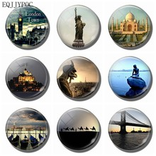 3 CM Glass Fridge Magnet Souvenir Travel Decorative Magnetic Stickers Home Decor - London New York India Valencia Paris(China)
