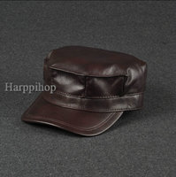 Harppihop Fur 100% genuine leather men military cap hat brand new men's real leather adult solid adjustable army hats/caps