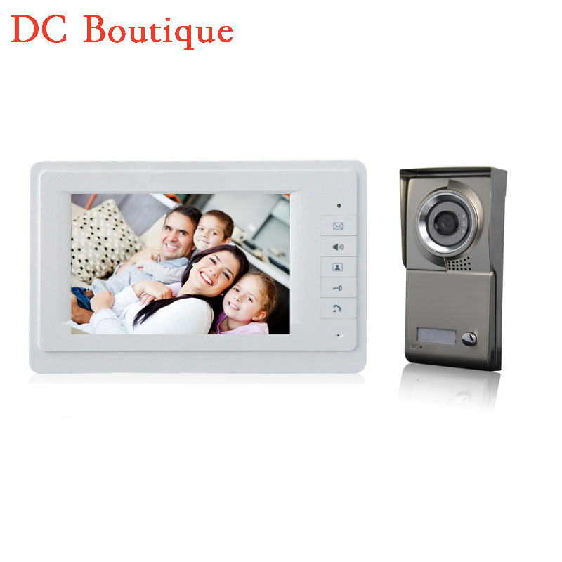 (1 set) Home use 1 to 1 Video door phone smart home system Video intercom waterproof camera 7 inch color monitor free shipping brand new wired 7 inch color video intercom door phone set system 2 monitor 1 waterproof outdoor camera in stock free shipping