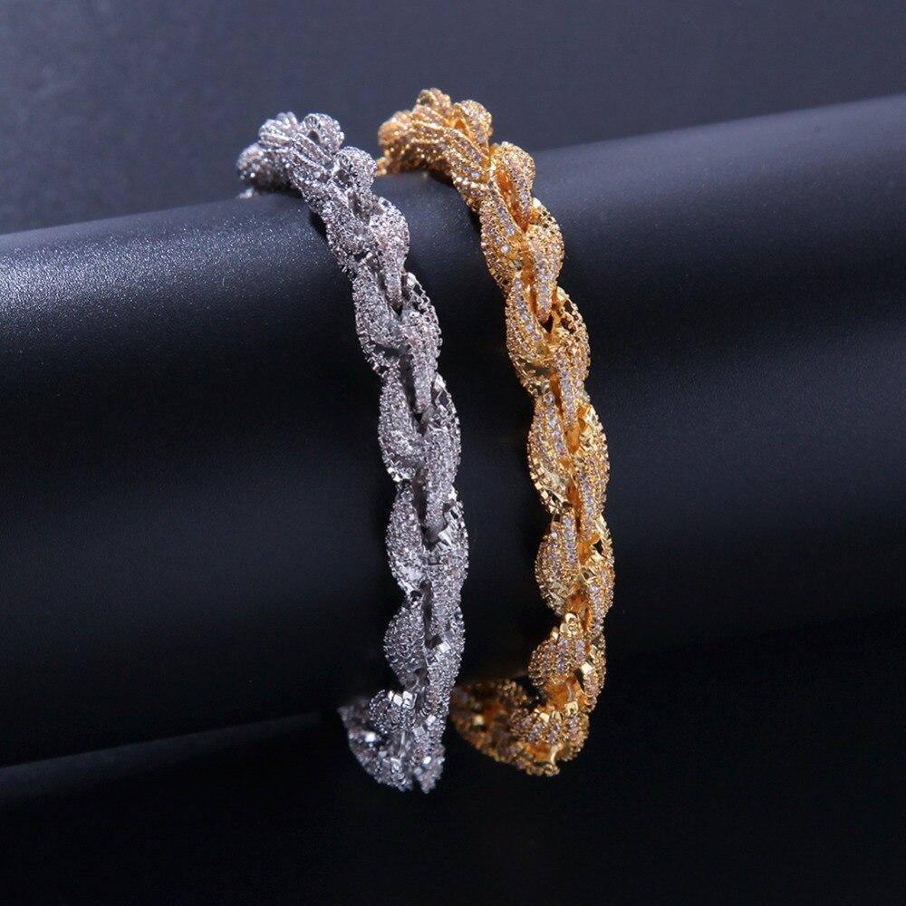 8mm cubique Zircon corde lien collier or argent plaqué luxe cuivre Micro pavé CZ chaîne cubaine 8 pouces - 2