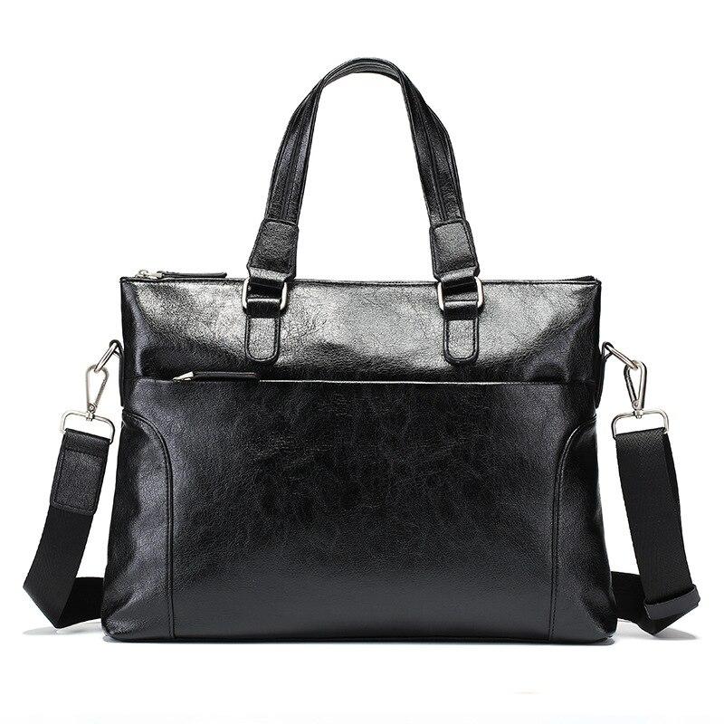 Zwarte Mannen Pu Lederen Business Office Laptop Handtassen Vintage Mannen Crossbody Reistas-in Top-Handle tassen van Bagage & Tassen op  Groep 1