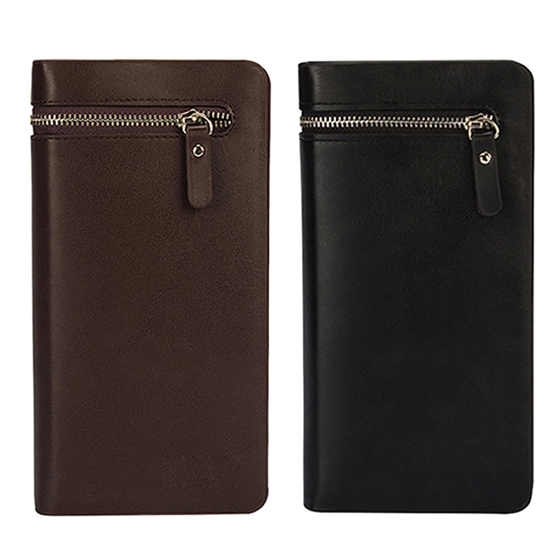 Men s Faux Leather Zip Long Wallet Purse Card Holder Checkbook Billfold Clutch BVQ2