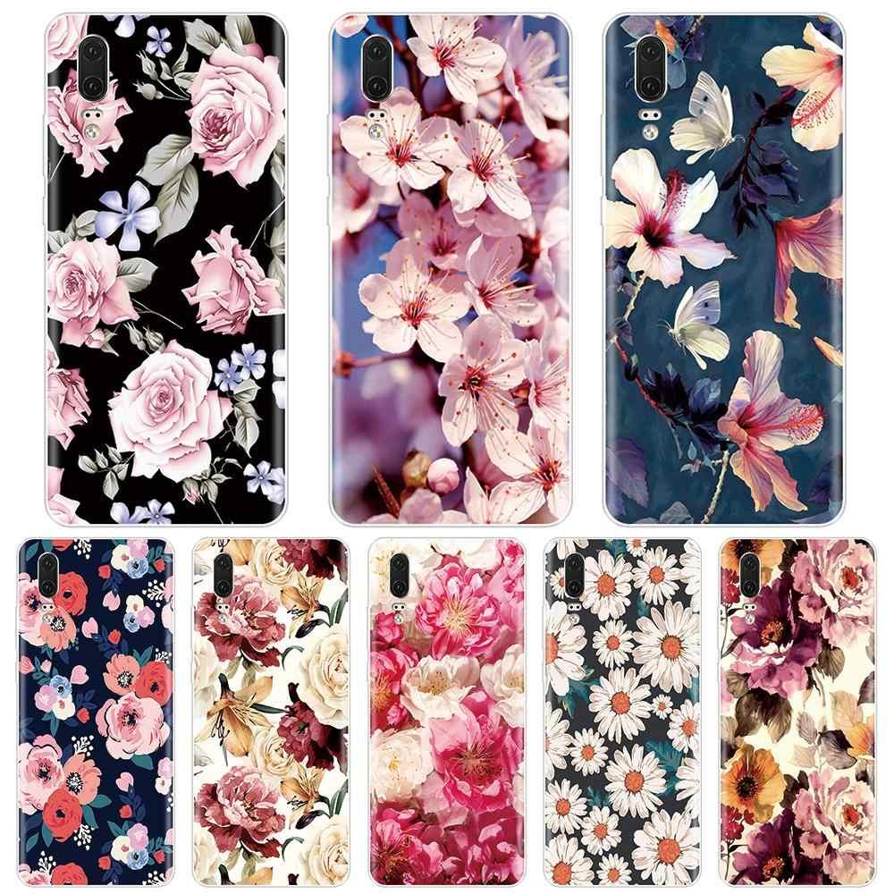 الغطاء الخلفي لهواوي P8 P9 P10 P20 لايت برو زائد 2017 P الذكية أزهار لطيفة الأزهار جراب هاتف سيليكون لهواوي p9 لايت البسيطة