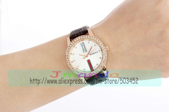 100 шт./лот womage из 409-2 исключительное обвинение кожа смотреть Couture кристалл платье часы sod цена кварцевые наручные часы 4 цвета