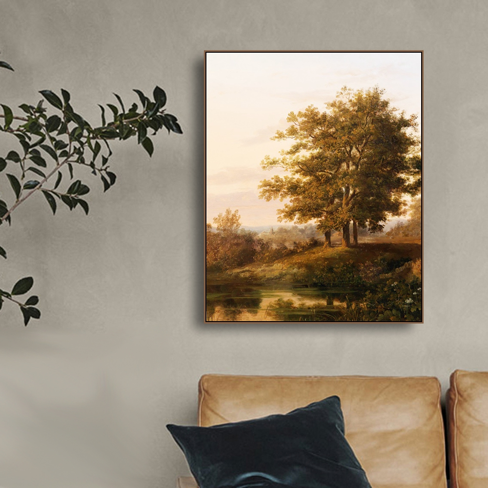 Laeacco Canvas Calligraphy Painting Vintage Landscape Posters and Prints Tree Wall Artwork Picture Living Room Decoration in Painting Calligraphy from Home Garden
