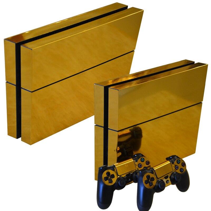 Adesivo de pele lustroso do decalque do ouro para playstation 4 ps4 console + controladores