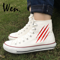 Wen Original Design Scratches Wounds Bleed Bloodstains White High Top Adults Skateboard Sneakers Men Women Canvas Shoes