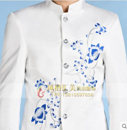 Chinese tunic suit men white suits designs stage costumes for singers slim jacket men embroidered blazer dance star style dress in Blazers from Men 39 s Clothing
