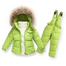 Enfants Hiver Vêtements set Garçons Ski Costume Fille Vers Le Bas Veste Manteau + salopette Ensemble 1-6 Ans Enfants Vêtements Pour Bébé Garçon/Bébé Fille
