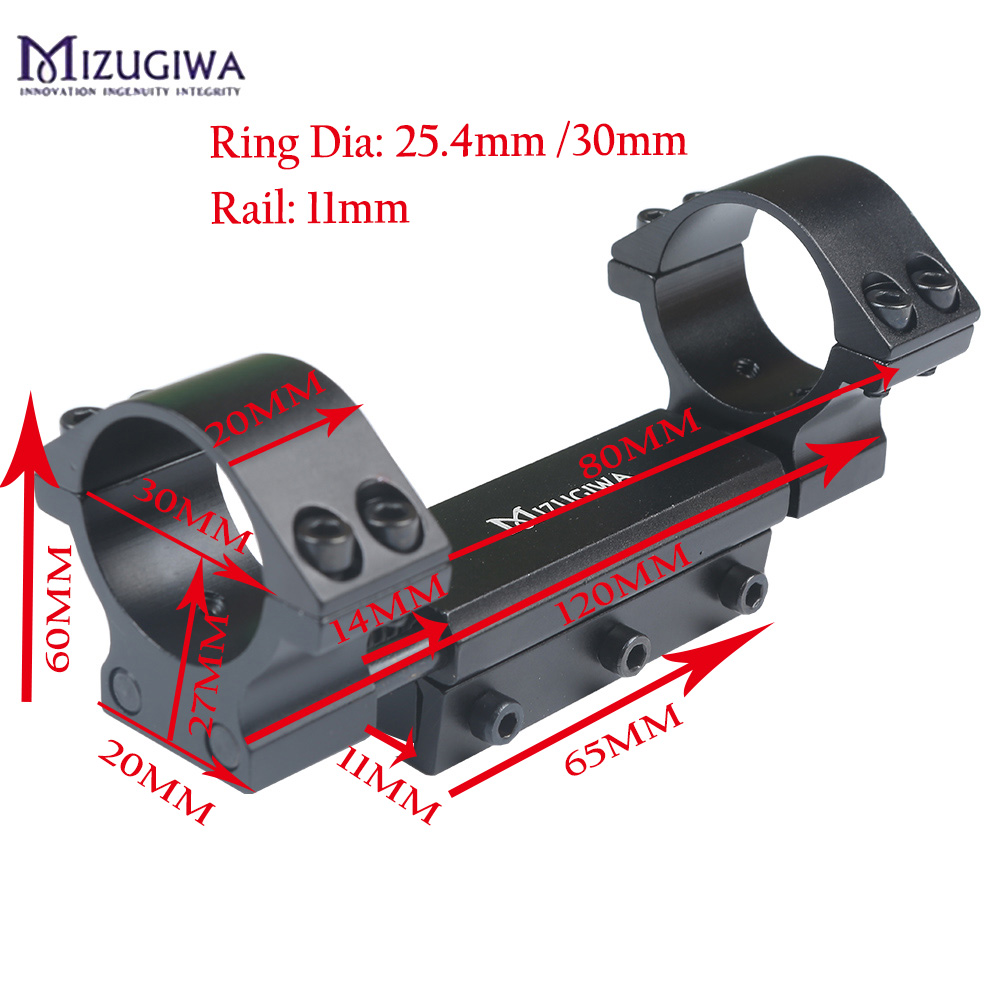 Mizugiwa One Piece Airgun Mount Ring 25.4mm/30mm w/Stop Pin Adapter 11mm RIS Picatinny Rail Dovetail Weaver Pistol Airgun Rifle|Scope Mounts & Accessories| |  - title=