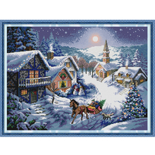 Joy Sunday,Dusk in the snow,cross stitch embroidery set,printing cloth embroidery kit,needlework,DIY cross stitch embroidery kit joy sunday flowers cross stitch embroidery set printing cloth embroidery kit needlework diy cross stitch embroidery kit