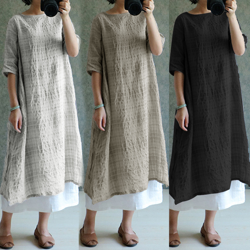 ZANZEA 2018 Women Vintage Plaid Linen Dresses Summer Dress Oversized Women Clothes Ladies Casual Loose Sundress Vestidos S-5XL