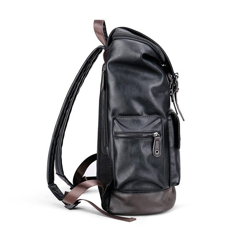 Dos Loisirs À Hommes Portable Noir pouces Mâle Pu Voyage Sac Ordinateur En Cuir Haute Black Duffle Capacité De 14 D'épaule wwY04qa
