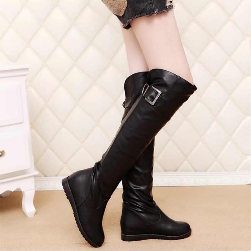 Mulheres longo inverno botas de pelúcia qualidade PU na altura do joelho de alta moda botas pretas de salto aumentou 2 cm confortáveis botas dedo do pé redondo sapatos