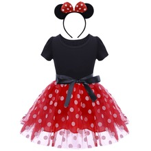 Minnie Mouse Cosplay Princess Fancy Dress Up Baby Kids Halloween Costumes for Girls Birthday Party Clothes Photography Props