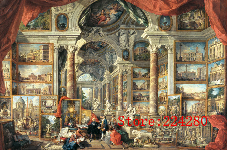 Classical Museum Art Oil Painting Needlework 14CT Canvas Unprinted Handmade Embroidery DMC Cross Stitch Kits Set