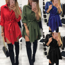 Fashion Casual Women Long Sleeve Cotton Button Down Blouse Shirt Dress Loose Mini Dress long sleeve button down mini shift dress